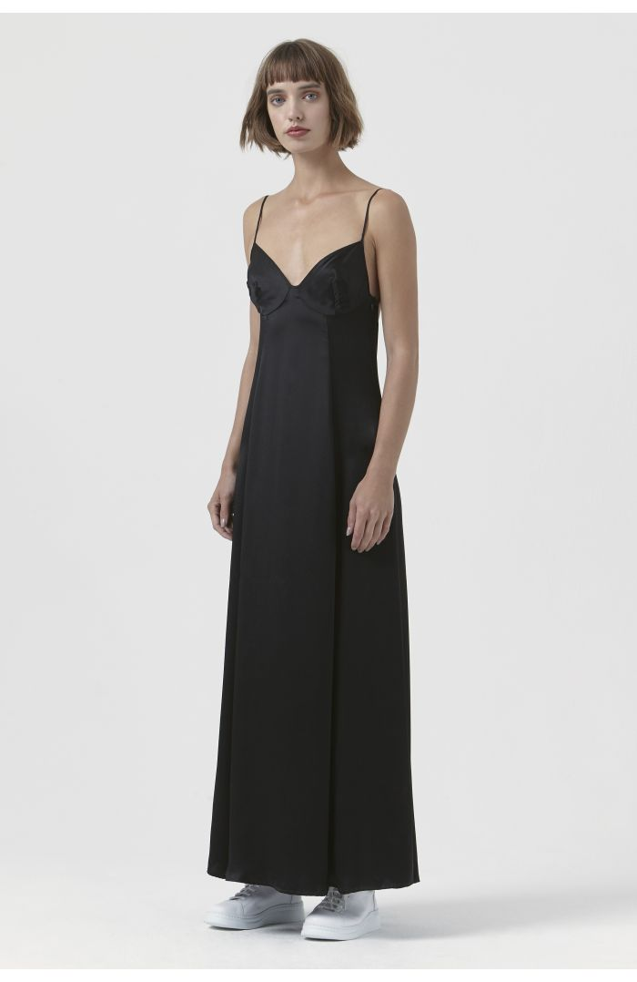 Madama Black Silk Satin Dress