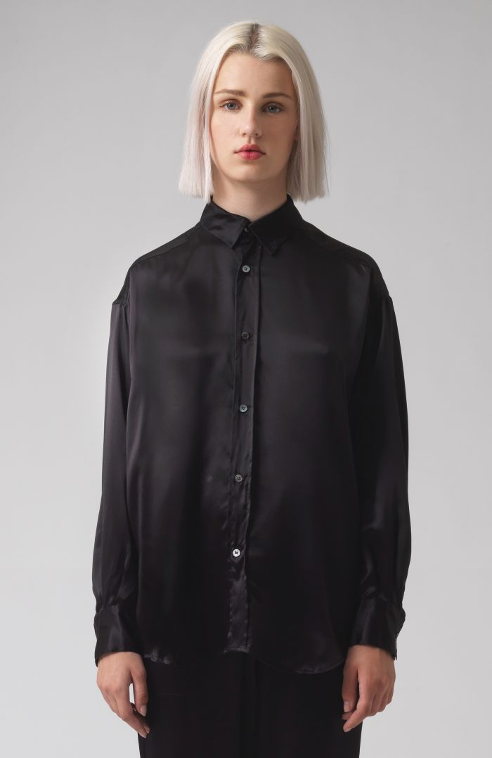 Nicola Black Silk Satin Shirt