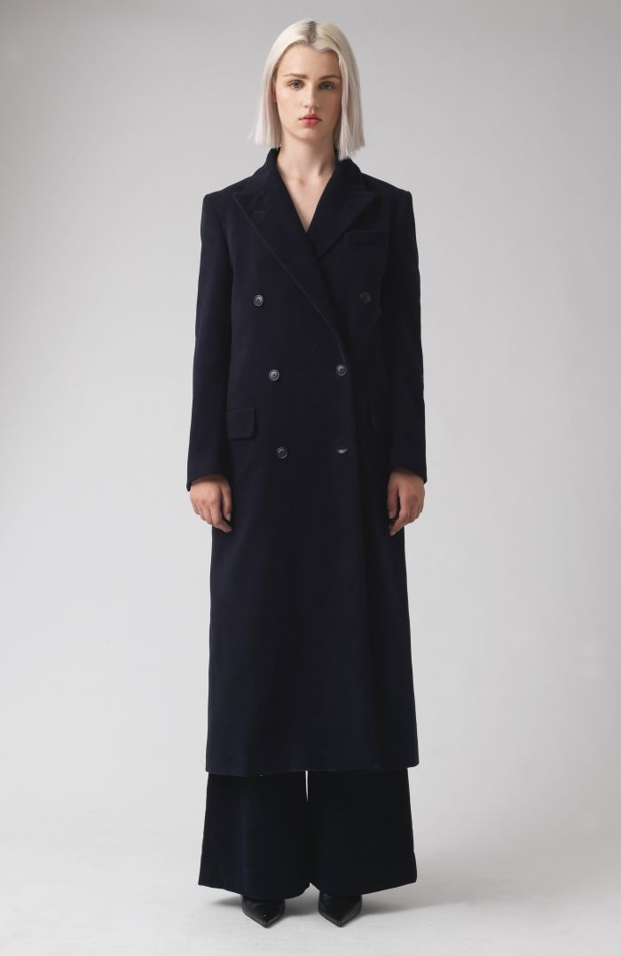 Simona Navy Organic Cotton Coat