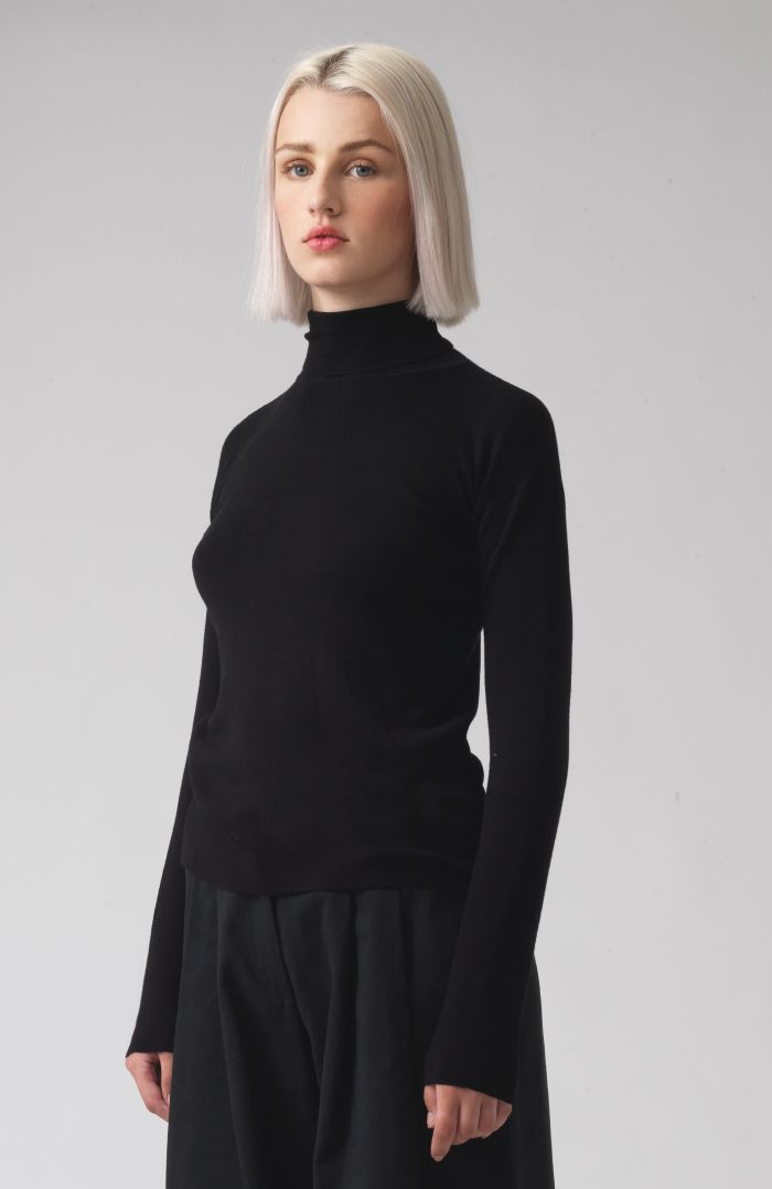 Myrtle Black Merino and Wool Jumper