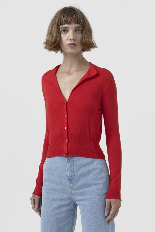 Sandra Red Wool Cardigan