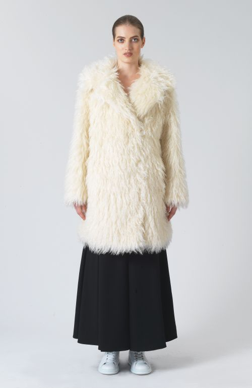 Samantha White Mohair Oversized Coat