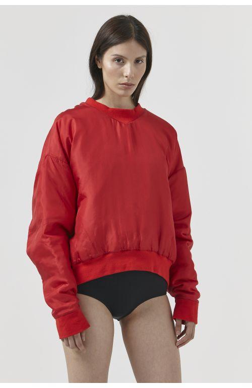 Vince Red Silk Sweatshirt