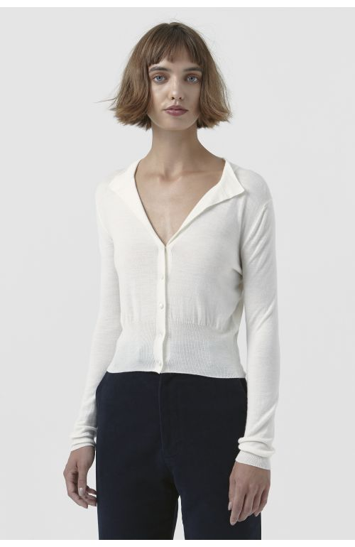 Sandra White Wool Cardigan