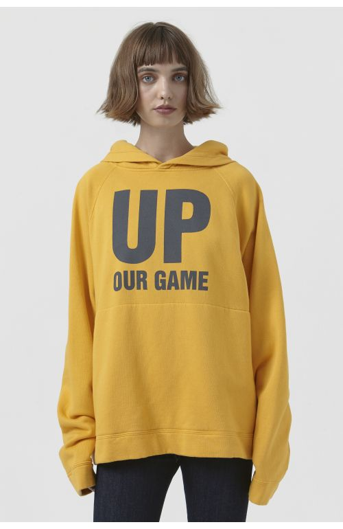 Rick Yellow Organic Cotton Slogan Hoodie