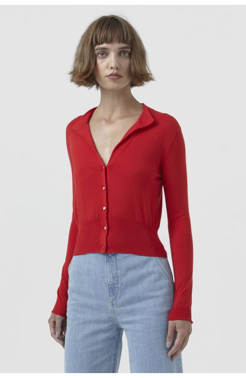 Sandra Red Wool Cardigan