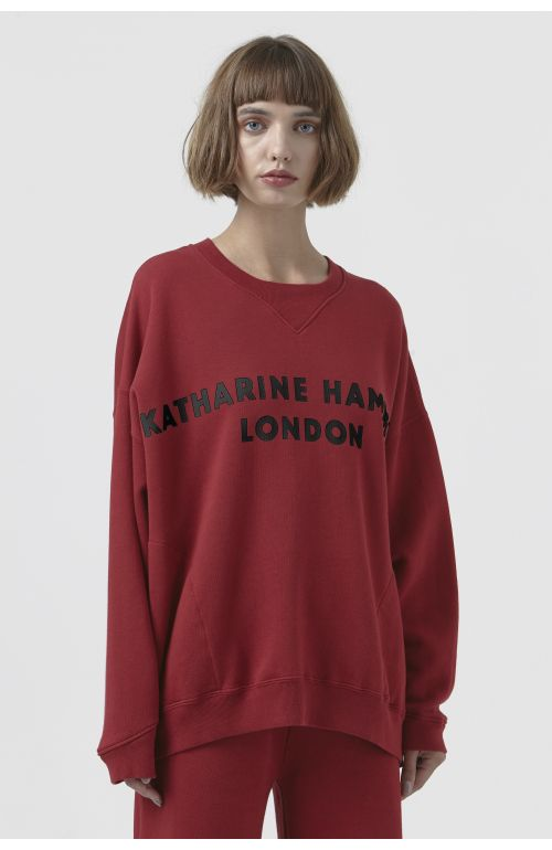 VINCE RED ORGANIC COTTON LOGO SWEATSHIRT