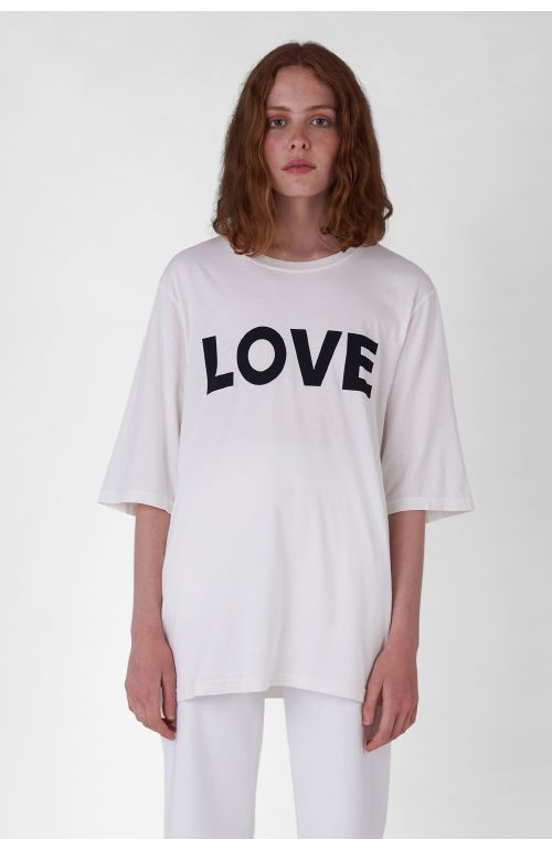 LOVE ORGANIC COTTON WHITE OVERSIZED T-SHIRT