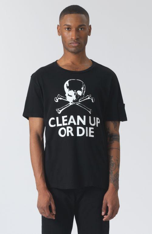 Clean Up Or Die Black Organic Cotton T-Shirt