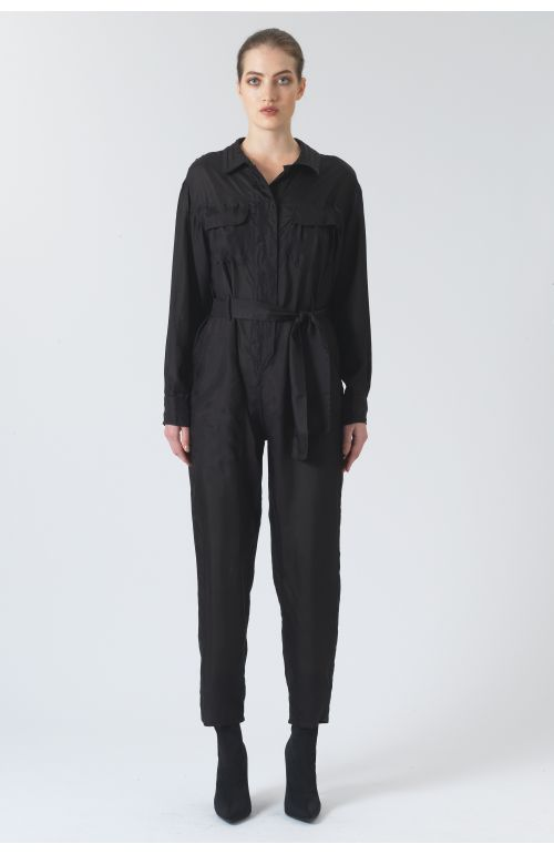 Eleanor Black Silk Habotai Onesie