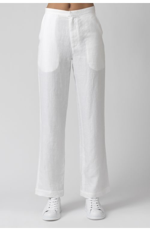 Diana white organic linen trousers