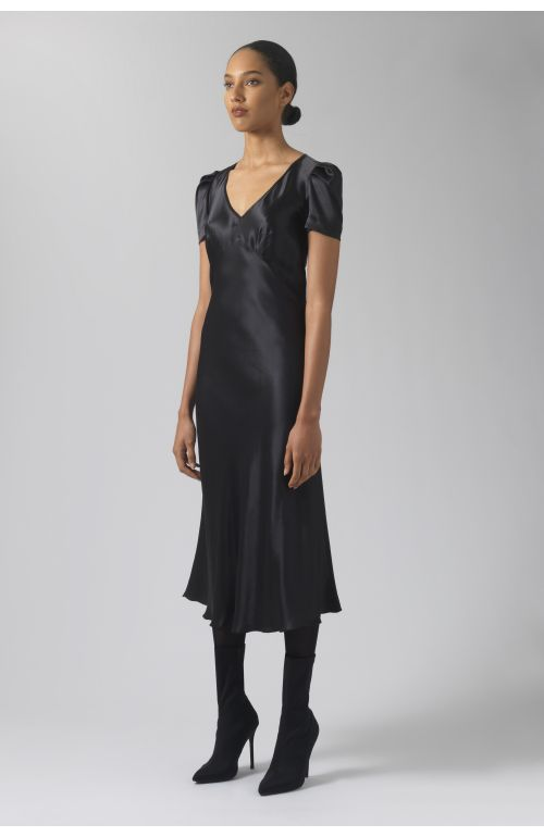 Maia black silk dress