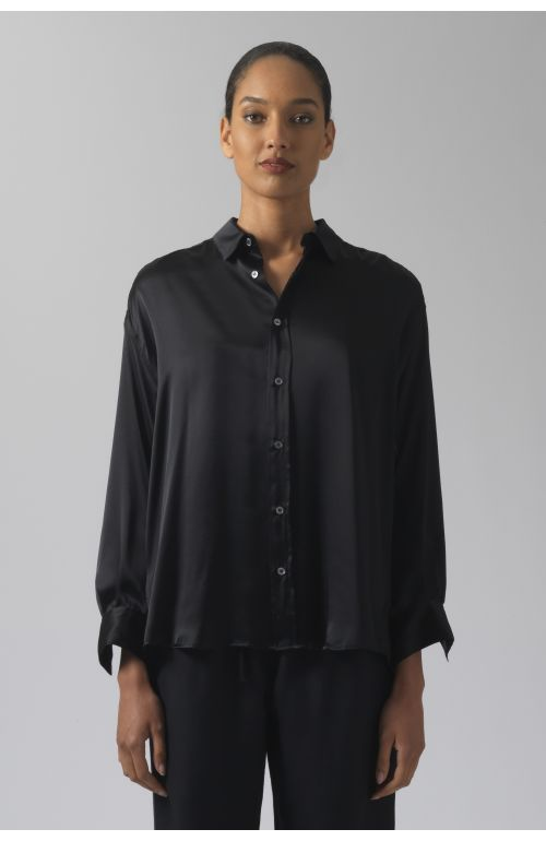Nicola black silk shirt
