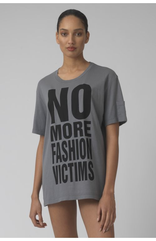 NO MORE FASHION VICTIMS grey organic cotton t-shirt