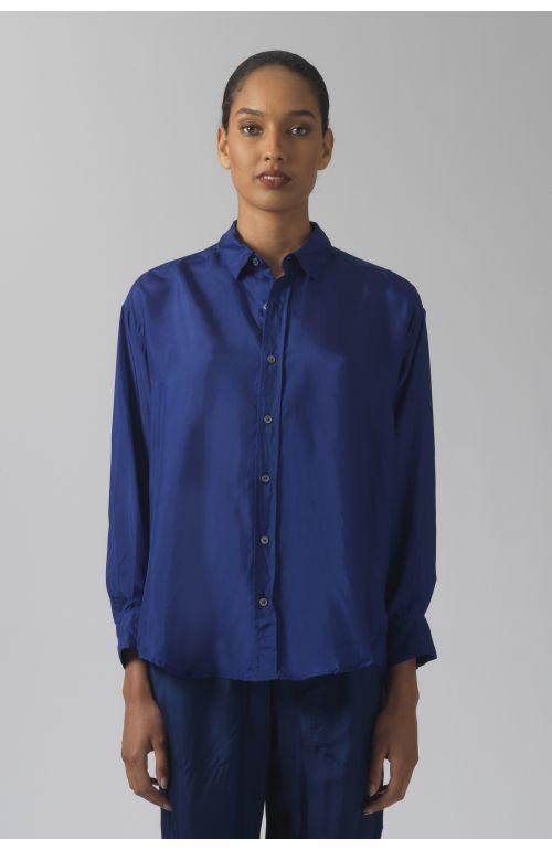 Nicola deep blue silk shirt