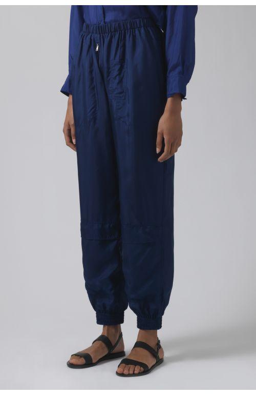 Silk deep blue runner trousers
