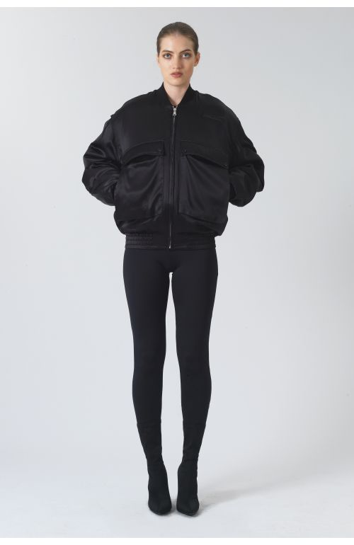Rene Black Silk Satin Bomber