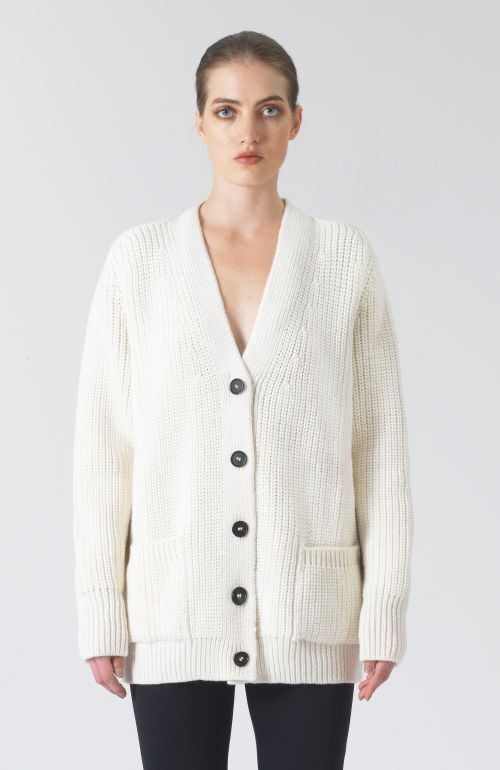 Bennie White Wool and Alpaca Cardigan