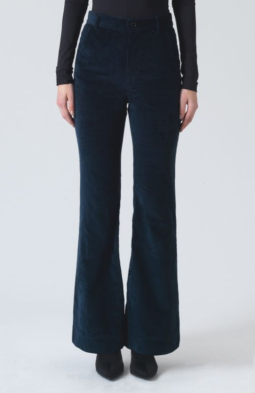 Annette Navy Organic Cotton Palazzo Trousers