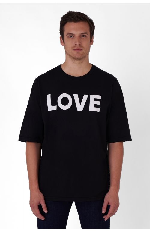 LOVE ORGANIC COTTON BLACK T-SHIRT