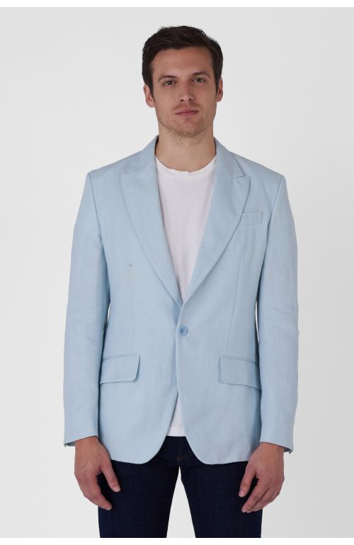 Plinio light blue organic cotton jacket