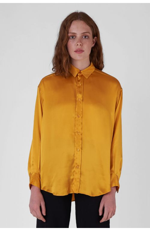 Nicola Silk Satin yellow oversized Shirt
