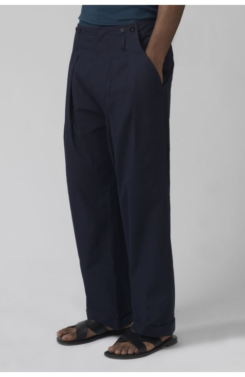 Ace navy organic cotton trousers