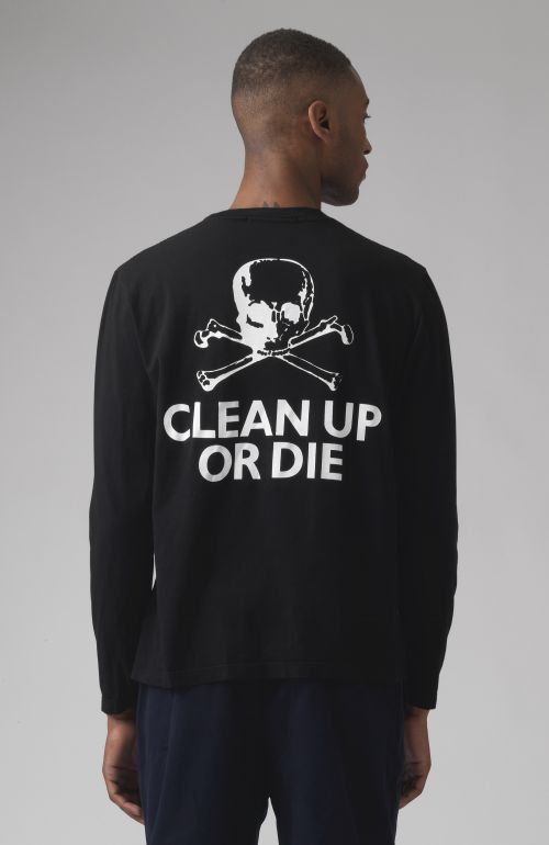 Clean Up Or Die Black Organic Cotton Long Sleeves T-Shirt