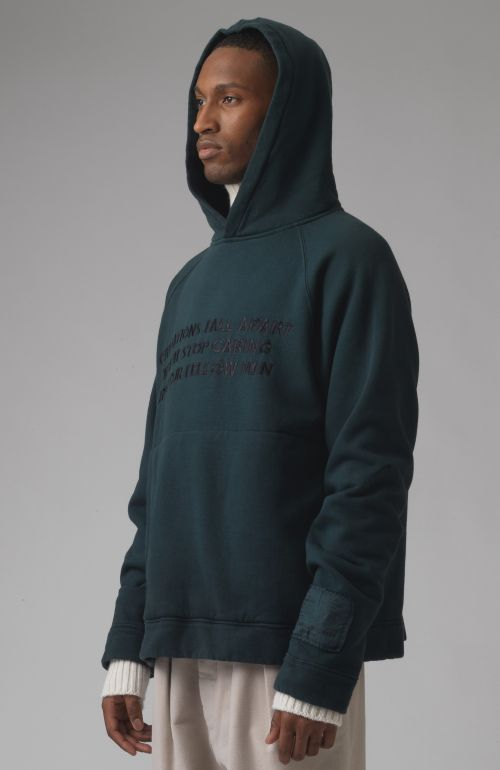 Rick green slogan organic cotton hoodie
