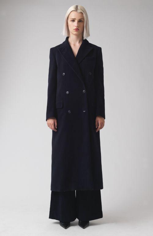 Simona Navy Organic Cotton Coat