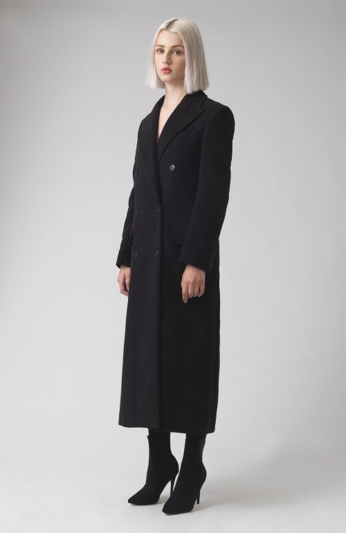 Simona Black Organic Cotton Coat