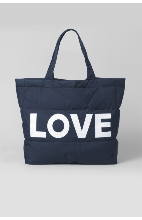 LOVE NAVY PUFFER BAG