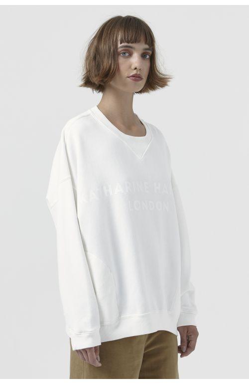 Vince Organic Cotton White Logo Sweatshirt
