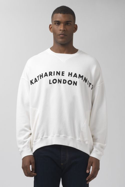 Vince White Organic Cotton Logo Sweatshirt