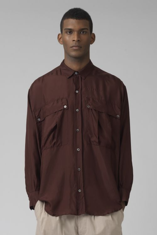 Alex warm brown silk shirt