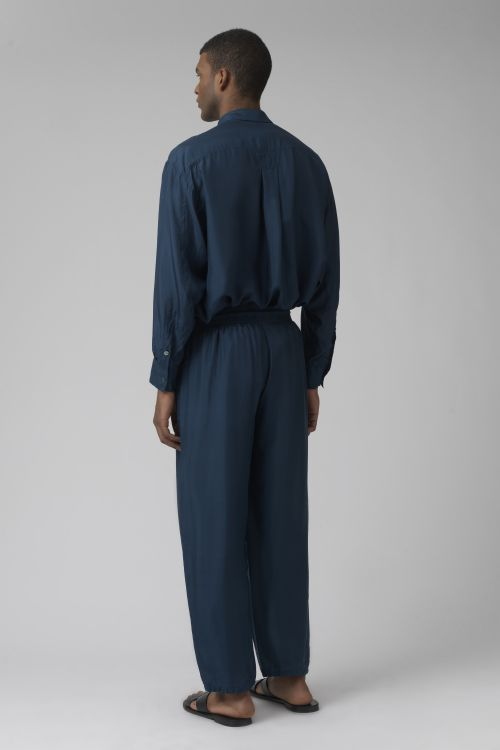 Lucio teal silk trousers