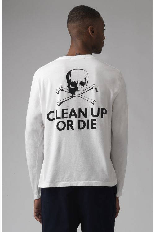 Clean Up Or Die White Organic Cotton Long Sleeves T-Shirt