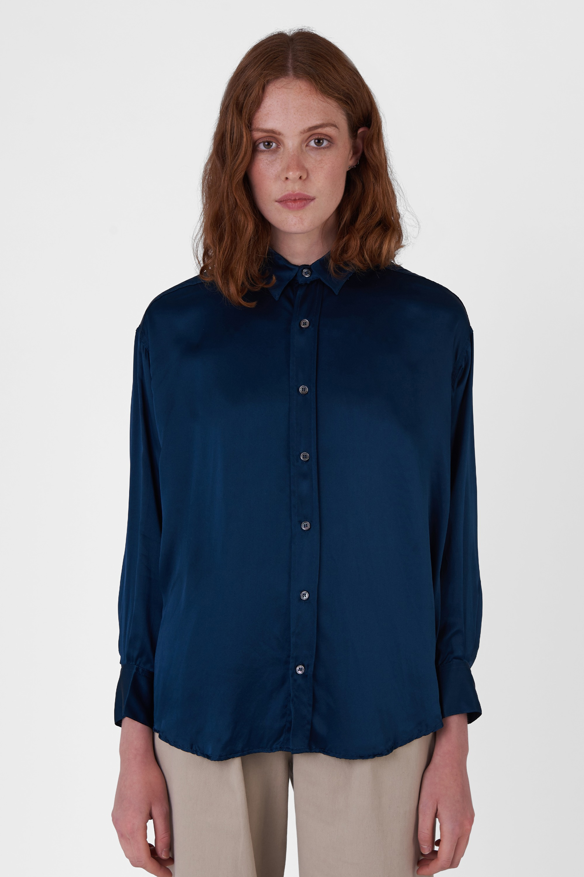 NICOLA SILK SATIN DEEP BLUE OVERSIZED SHIRT