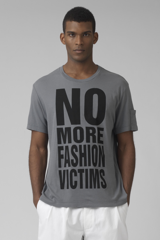 NO MORE FASHION VICTIMS Organic cotton grey t-shirt