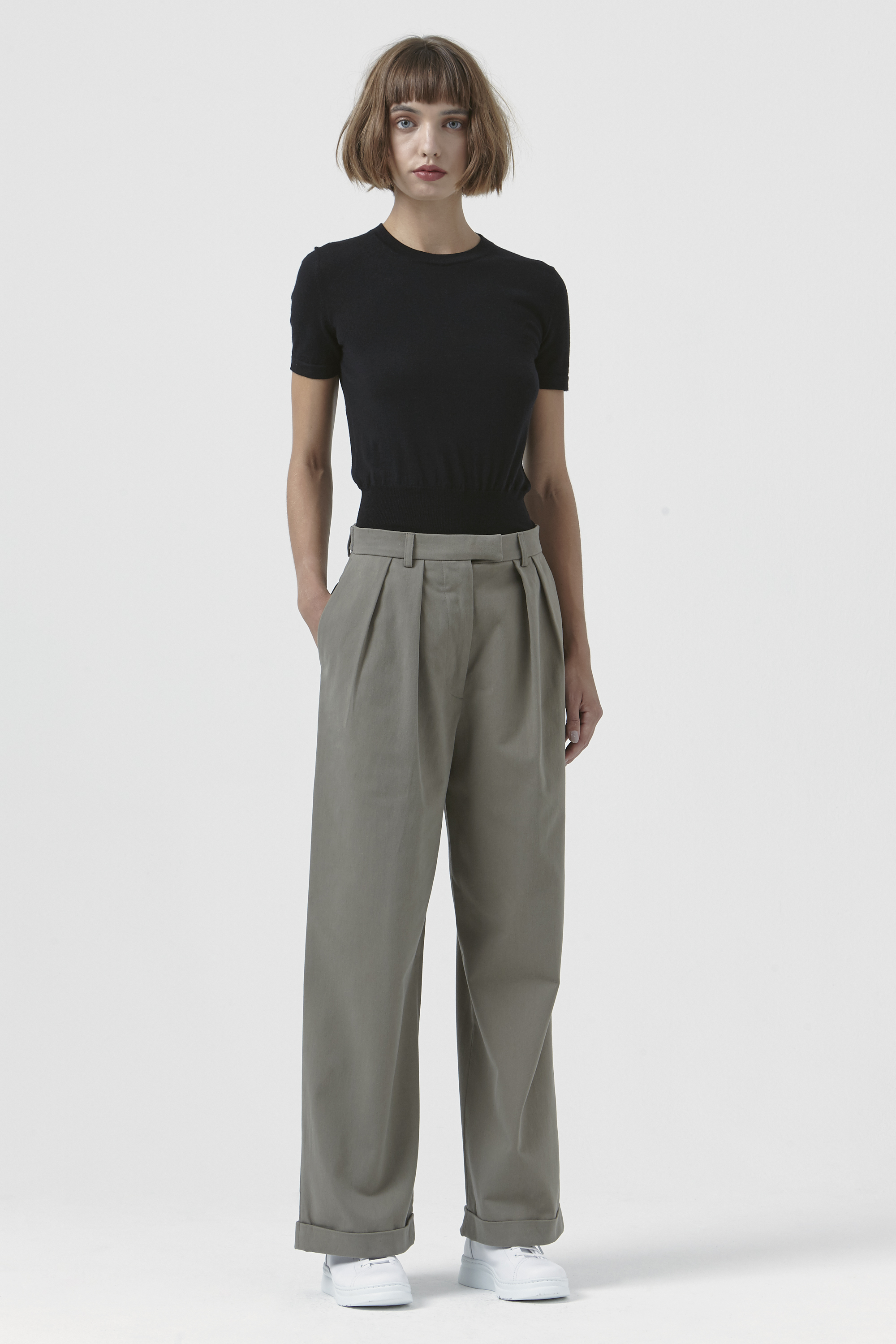 Camilla Khaki Organic Cotton Trousers