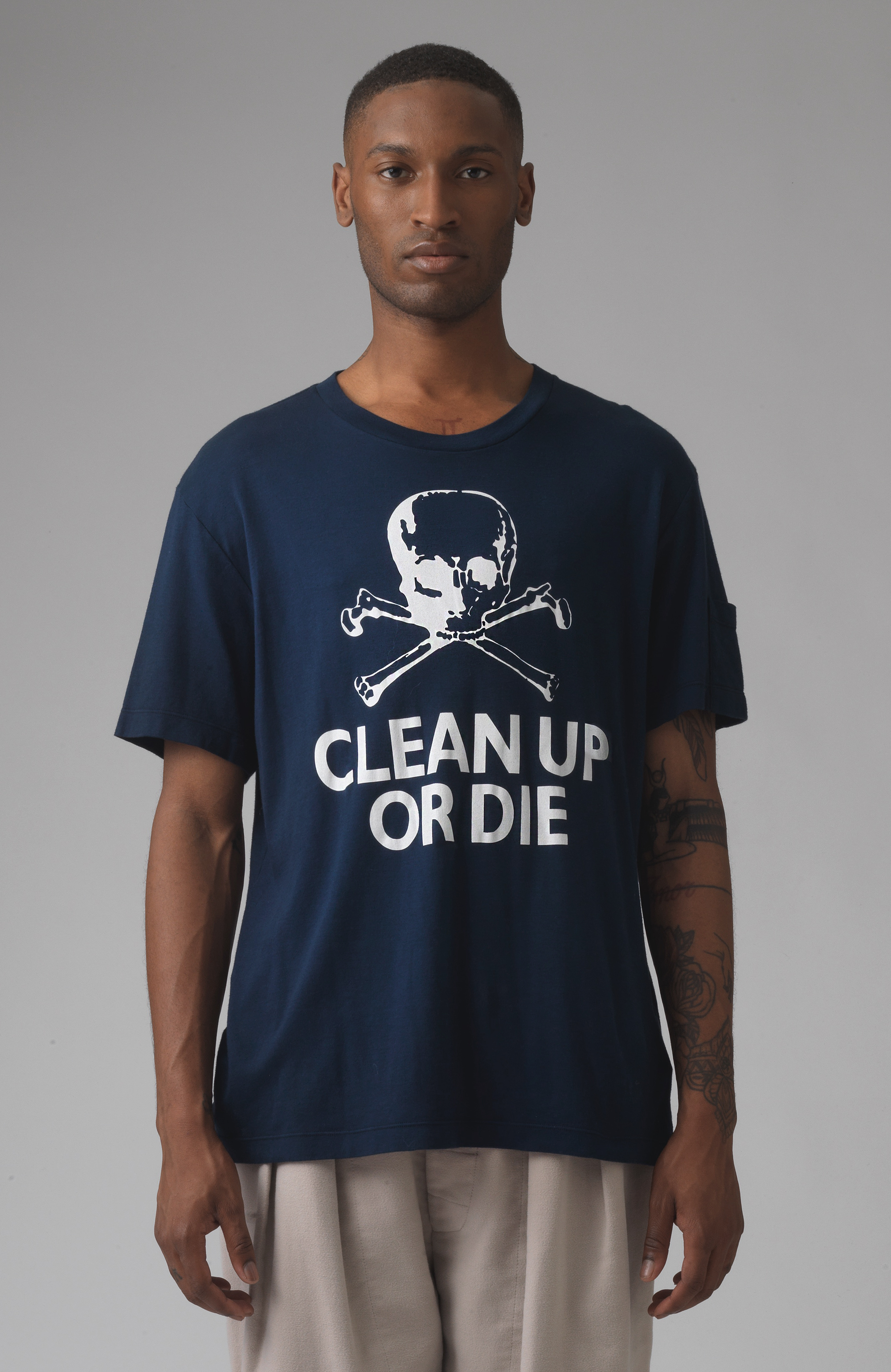 Clean Up Or Die Blue Organic Cotton T-Shirt