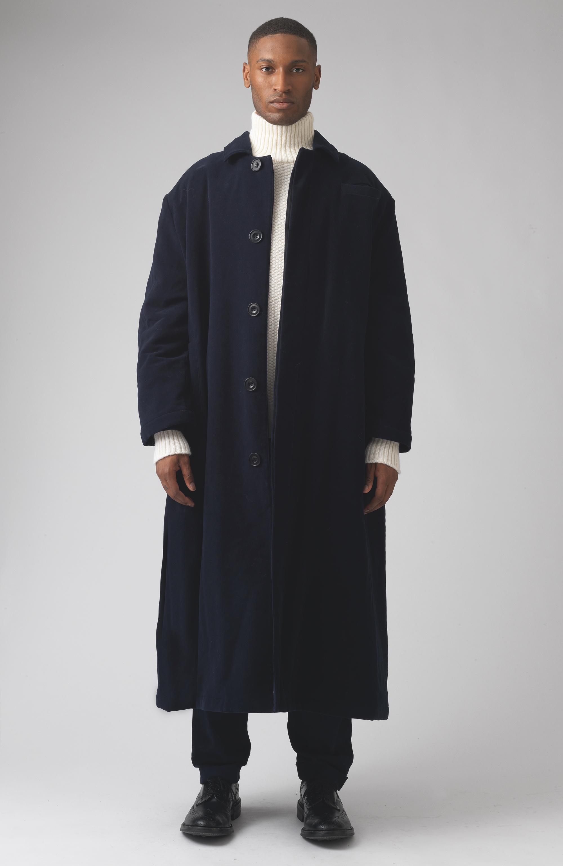 Sam Navy Moleskin Coat
